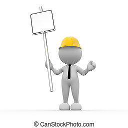 Businessman - 3d people - man, people with blank sign in a...