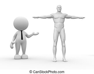 Human body - 3d people - man, person with a human body.