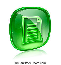 Document icon green glass, isolated on white background