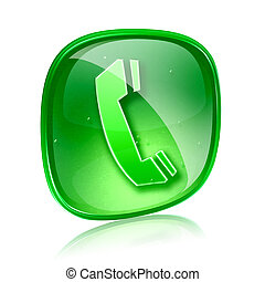 phone icon green glass, isolated on white background.