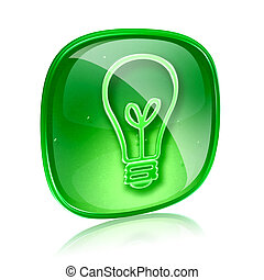 Light bulb Icon green glass, isolated on white background
