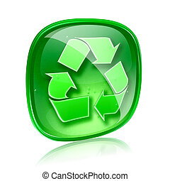 Recycling symbol icon green glass, isolated on white background.