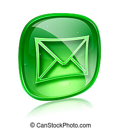 envelope icon green glass, isolated on white background