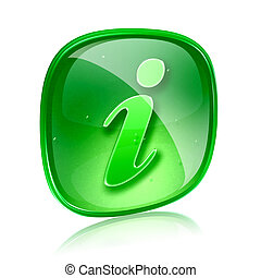 information icon green glass, isolated on white background