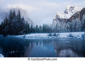 Yosemite California - Yosemite Valley after sunset in winter...