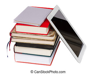 pile of books with modern tablet PC