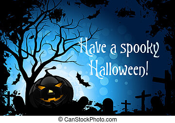 Have a Spooky Halloween - Abstract Blue Halloween Card with...