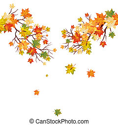Autumn maple tree with  falling leaves. Vector illustration.