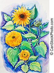 Yellow sunflowers, watercolor painting