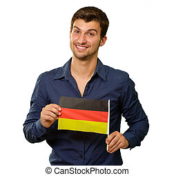 A Young Man Holding A German Flag On White Background