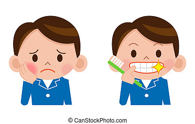 Tooth polish - A young man brushing his teeth isolated on...