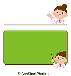 Bulletin board and woman doctor - Enthusiastic smiling...