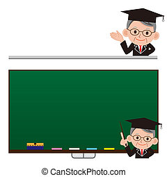 Bulletin board and scholar - funny cartoon scientist in...