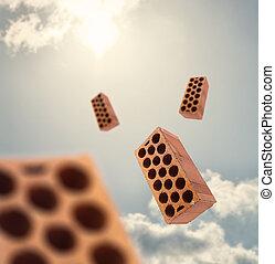 Blocks Flying In Air, Outdoor