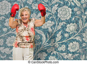 Senior Woman Boxer Cheering
