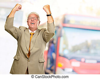 Senior Business Man Cheering, Outdoor