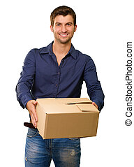 A Young Man Holding Cardboard Box On White Background