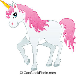 Fairy tale unicorn theme image 1 - vector illustration