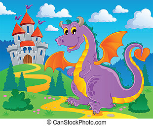 Dragon theme image 2 - vector illustration.