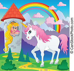 Fairy tale unicorn theme image 3 - vector illustration.