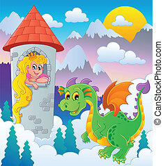 Dragon topic image 1 - vector illustration.