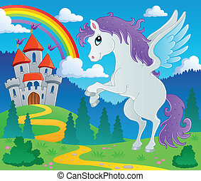 Fairy tale pegasus theme image 2 - vector illustration.