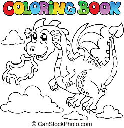 Coloring book dragon theme image 3 - vector illustration.