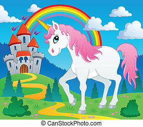 Fairy tale unicorn theme image 2 - vector illustration