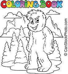Coloring book with yeti 1 - vector illustration