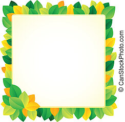 Leafy theme frame 1 - vector illustration.