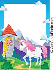 Fairy tale theme frame 4 - vector illustration.