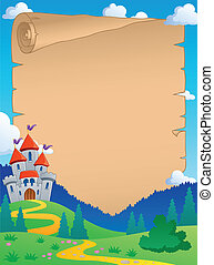 Fairy tale theme parchment 4 - vector illustration.