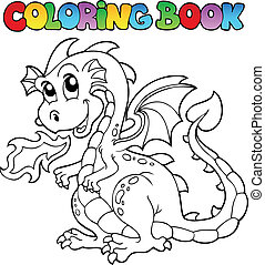 Coloring book dragon theme image 2 - vector illustration.