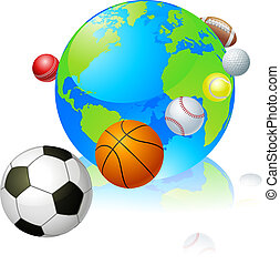 Sports globe world concept, a globe with different sports...
