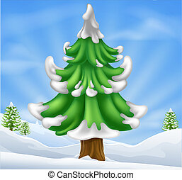 Christmas tree scene - Cartoon illustration of winter scene...