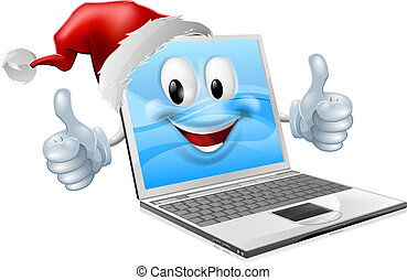 Happy Christmas mobile phone - Illustration of a happy...