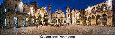cuba - Plaza de la catedral in Havana vieja panoramic shoot...