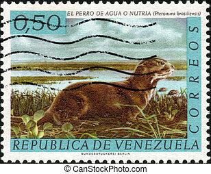 Stamp El Perro de Agua o Nutria - CIRCA 1963: A stamp...