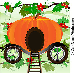 pumpkin-carriage - against the background of green leaves is...