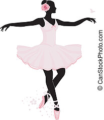 Ballet - Silhouette of a young dancing woman vector...