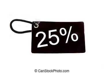 twenty-five percent paper tag isolated on white background