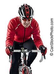 Cyclist riding a bike isolated on white background.