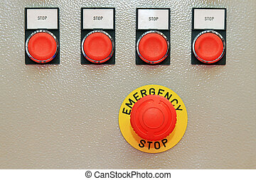 Emergency stop - Big red push button for emergency stop