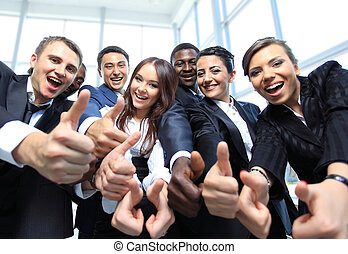 feliz, multi-ethnic, empresa / negocio, equipo, pulgares,...