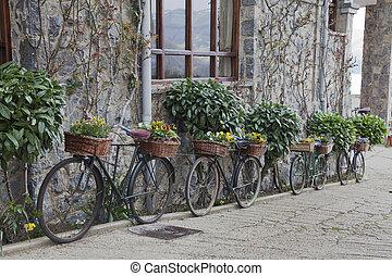 viejo, bicycles, cestas, flores, Decorar, pared, rural,...
