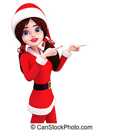 santa girl pointing towards blank - 3d art illustration of...