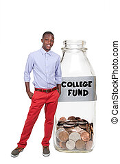 Boy Holding Her College Fund - Handsome boy holding her...