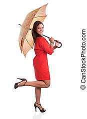 Woman in Red with umbrella