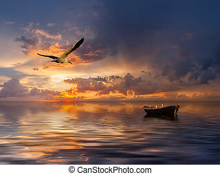Landscape with boat and birds - Beautiful landscape with...