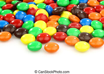 colorful  assorted sweets on a white background